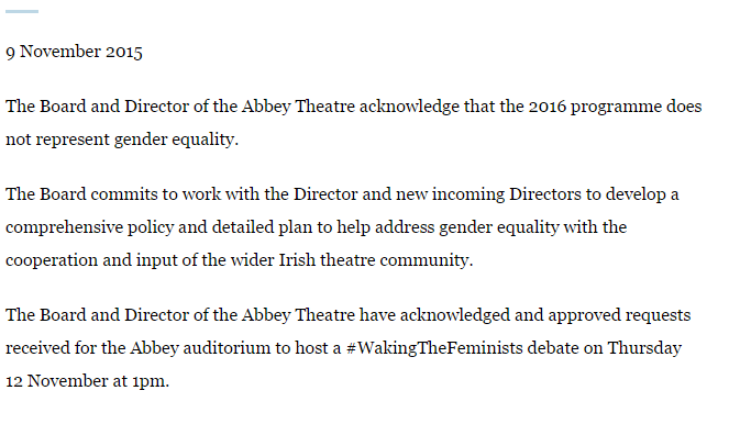 Statement on behalf of the Board and Director of the Abbey Theatre #WakingTheNation #WakingTheFeminists https://t.co/8ApyJyBPFm