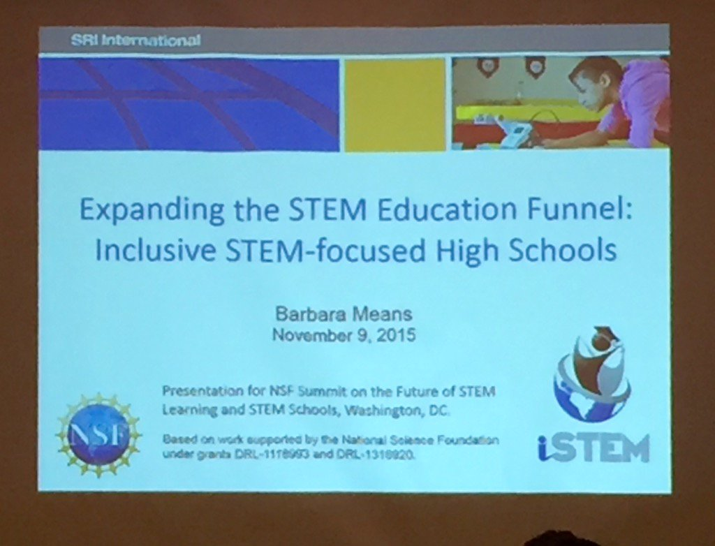 .@sri_education's Barbara Means is describing work to create inclusive #NSFNextGenSTEM schools in NC & TX https://t.co/cudfsPEQsr
