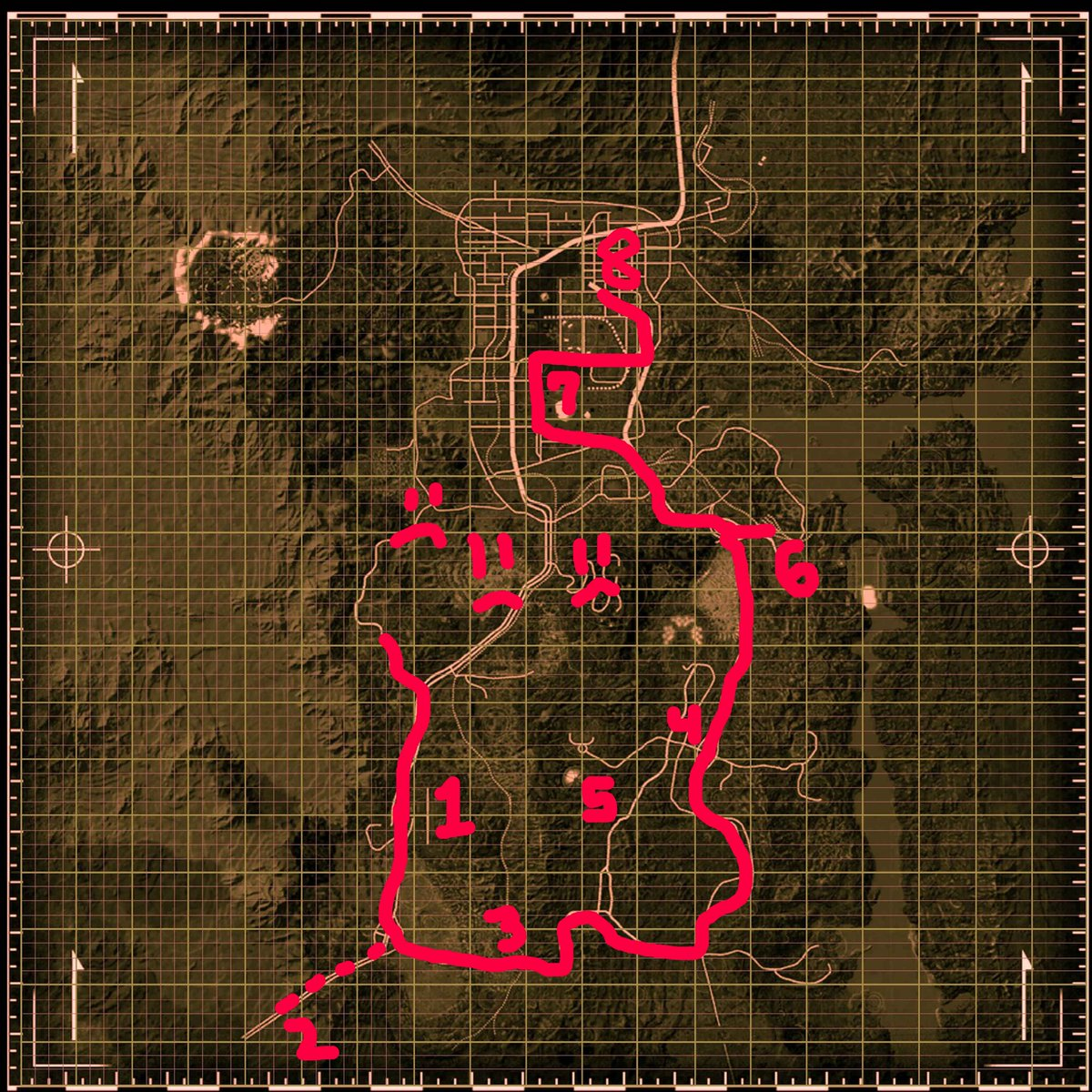 OK! We're back. So I've marked up a map of the player's likely path through the wasteland from the beginning https://t.co/fkDeQtvnKI