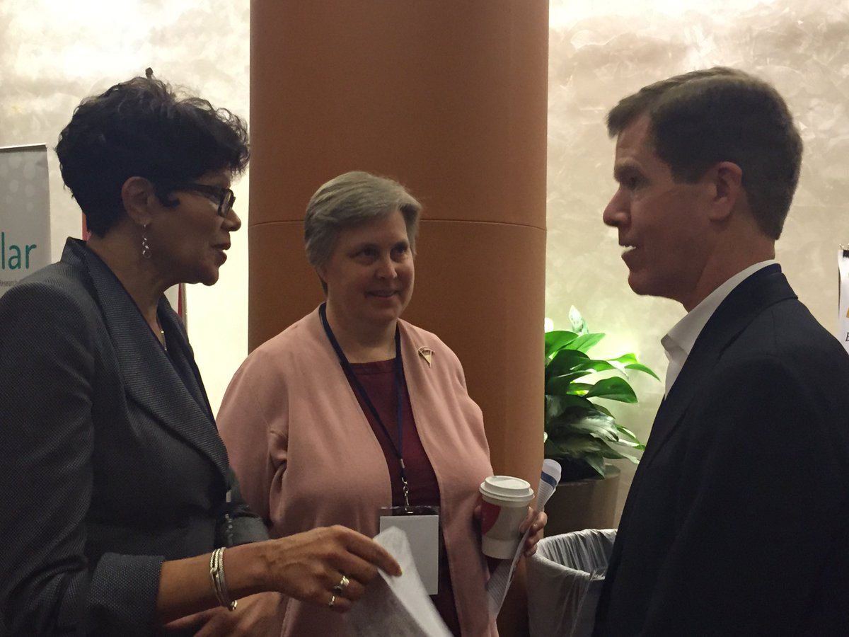 Our CEO Dave Offensend chats w/ EDC's Barbara Miller (c) and @SRI_Education's Denise Borders at #NSFNextGenSTEM. https://t.co/bpebxgq2iz