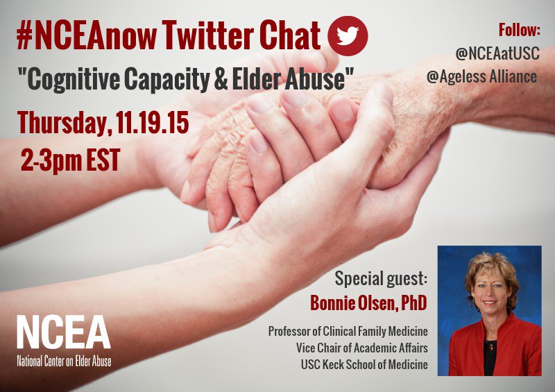 """Thumbnail for 11/19/15 #NCEAnow Chat: """"Cognitive Capacity & Elder Abuse"""""""