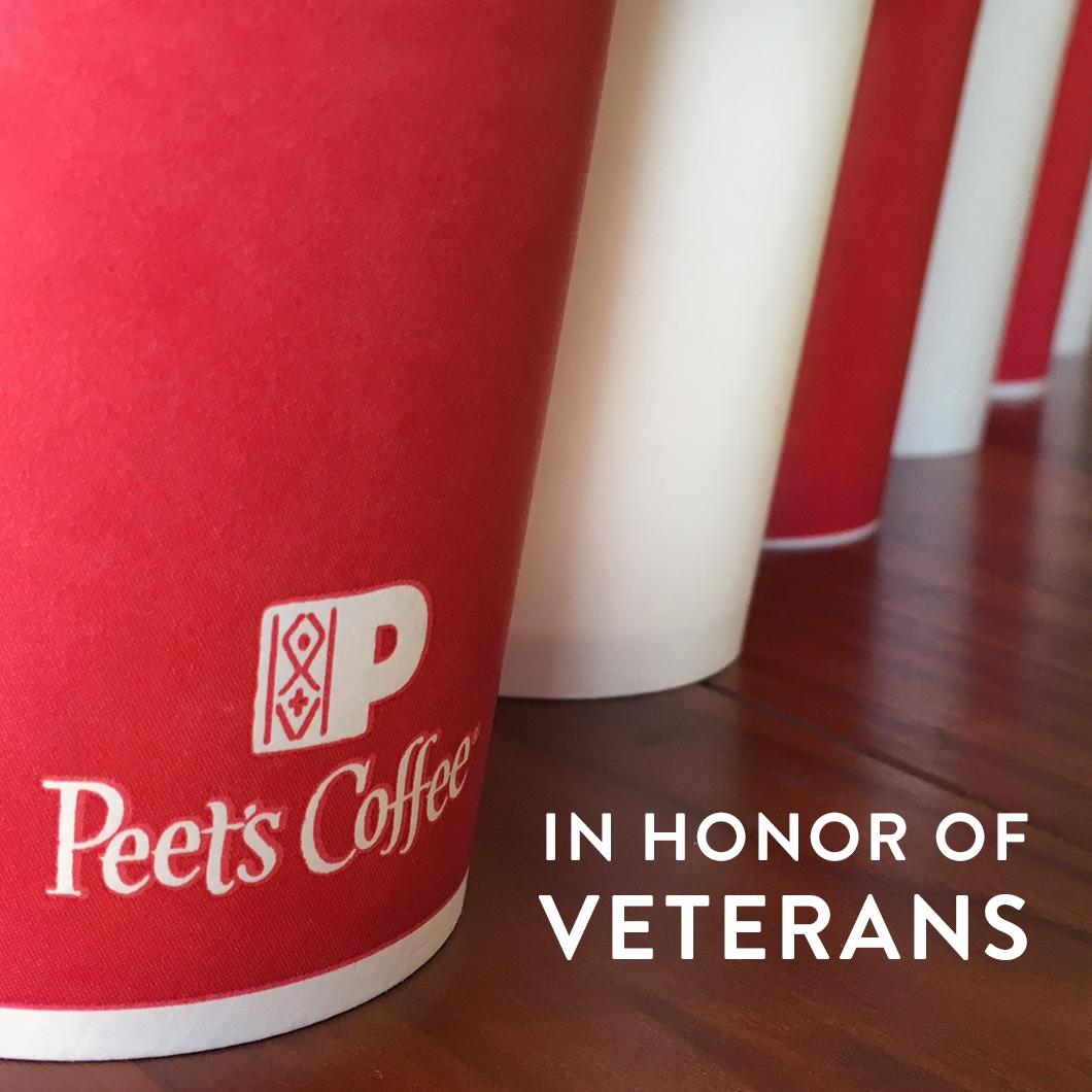In honor of Veterans Day, we want to show our gratitude. Troops & veterans receive free small coffee or tea on 11/11 https://t.co/h3n3PfzFyh