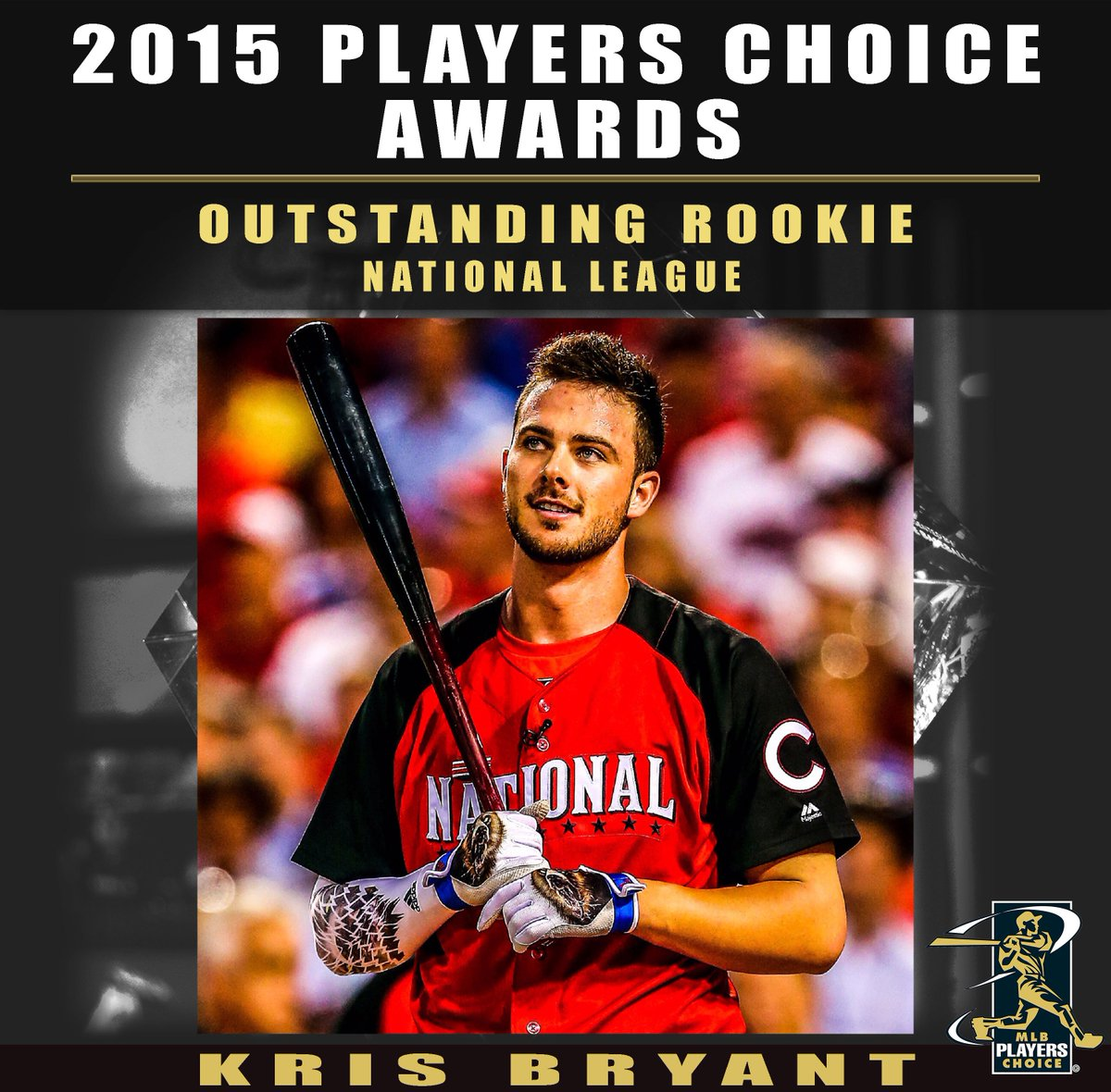 Congrats to @KrisBryant_23 @Cubs !! #PlayersChoiceAwards15  NL #OutstandingRookie as chose by @MLB_PLAYERS https://t.co/wNW0dSkcey