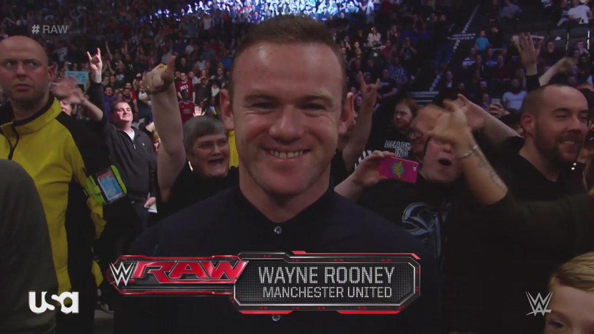 Wayne Rooney slaps WWE star Wade Barrett on Monday Night Raw