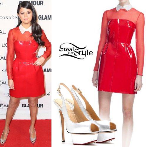 Steal Her Style On Twitter Selena Gomez Red Mesh Vinyl Dress