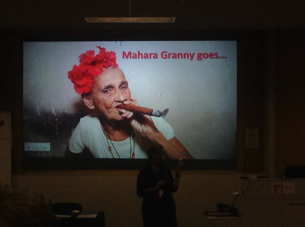 Mahara granny doing what grannies do best, telling stories #maharauk15 https://t.co/DtLzdo0wxm