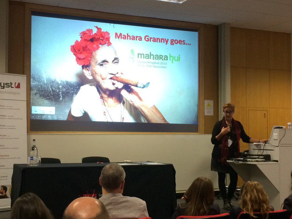 """Mahara Granny"" goes on a personal development journey for Day 2's Keynote Talk #maharauk15 https://t.co/rDoYOqFAxQ"