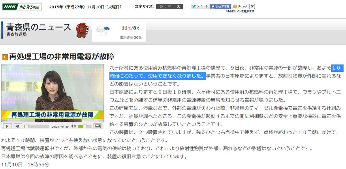 NHK青森【再処理工場の非常用電源が故障】六ヶ所村にある使用済み核燃料の再処理工場の建屋で、9日夜、非常用の電源の一部が故障し、およそ10時間にわたって、使用できなくなりました。https://t.co/49MuG5TOKo https://t.co/8zBSRgNKxJ