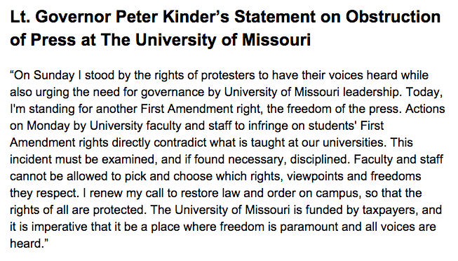 My statement on yesterday's obstruction of the press by University of Missouri faculty and staff: https://t.co/SSsxRq5bNP