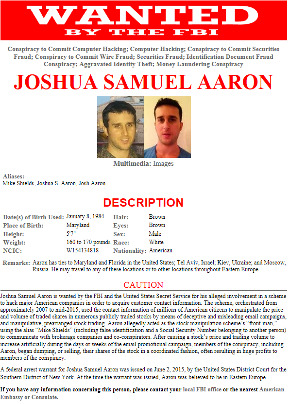 FBI New York on Twitter Newest FBI Wanted Poster Josh Aaron – Wanted Person Poster