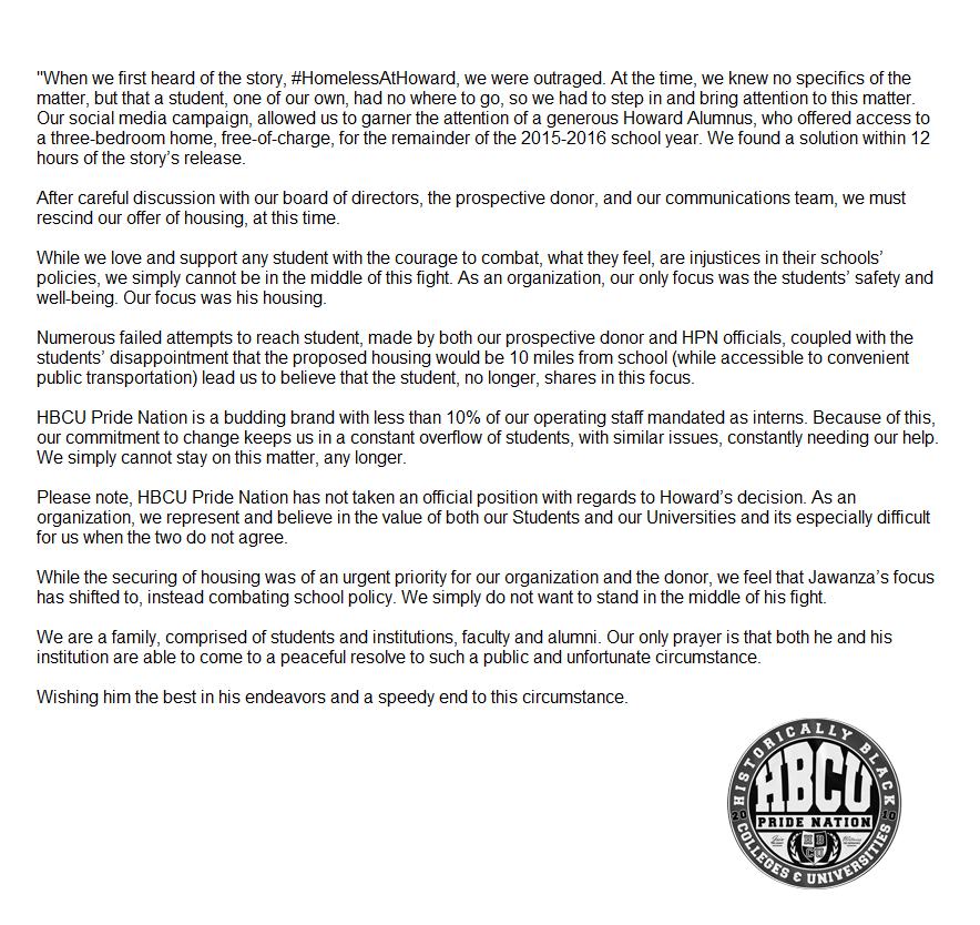 Update: We rescind our offer of housing from @Aznawaj immediately. https://t.co/dBvsvAjdbT #HomelessatHoward https://t.co/VnOqJGBrEE