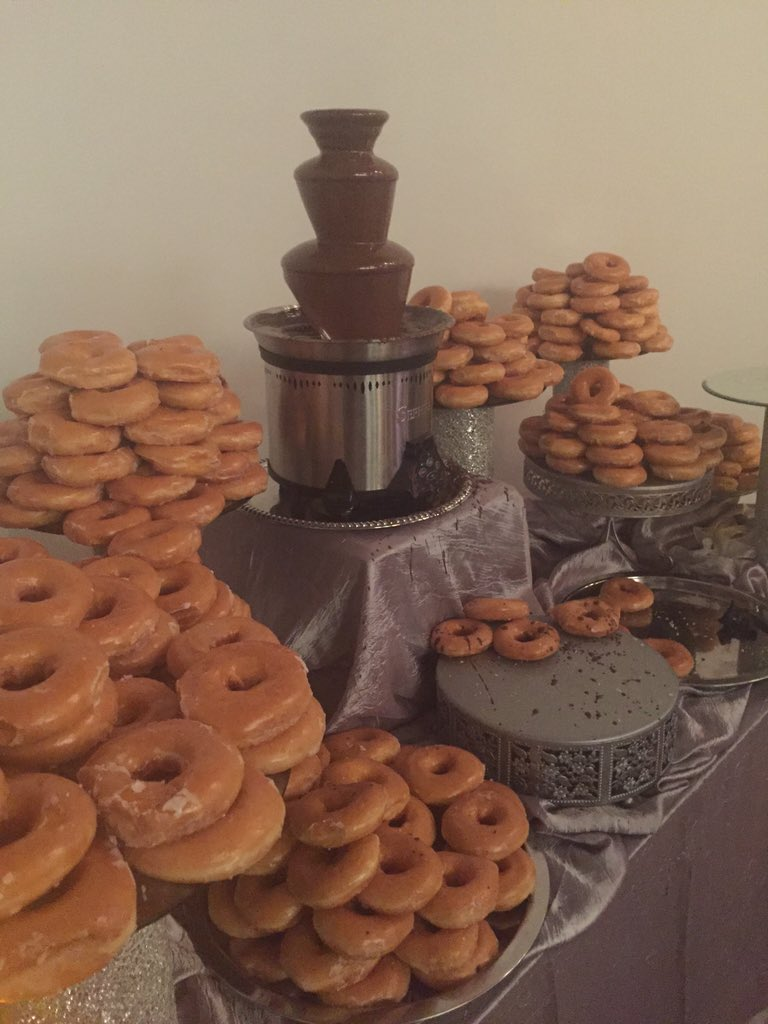 But that's not all! Our chocolate fountain comes with sweet @krispykreme donuts to dip!