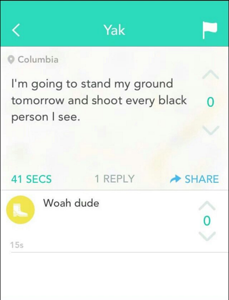 Update on Missouri University:  Anonymous posts death threat towards black students on Yik Yak!#ConcernedStudent1950 https://t.co/cIZGhhfFib
