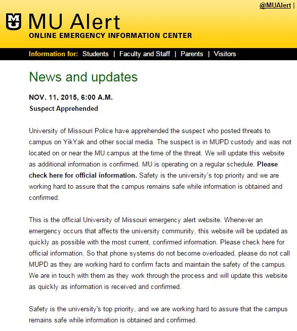 #BREAKING: University of Missouri police announce arrest of suspect who posted threats on YikYak. #Mizzou