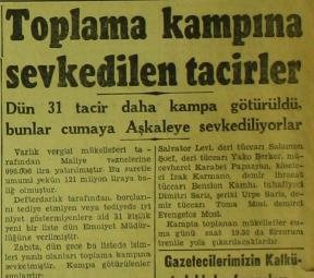 """Artin Berbatian على تويتر: """"1943 tarihli Cumhuriyet Gazetesi. Ödeme  yapmayan 31 kişinin daha Aşkale Toplama Kampı'na gönderileceğinin haberi.  https://t.co/U5gtreiGft"""""""