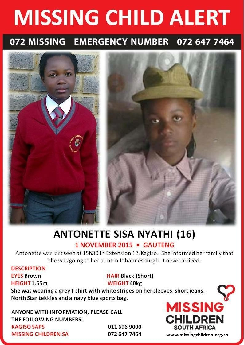 #MissingChildren 16-year-old Antonette Sisa Nyathi. Please RT and help authorities to find her. https://t.co/EAIzWjbKi3