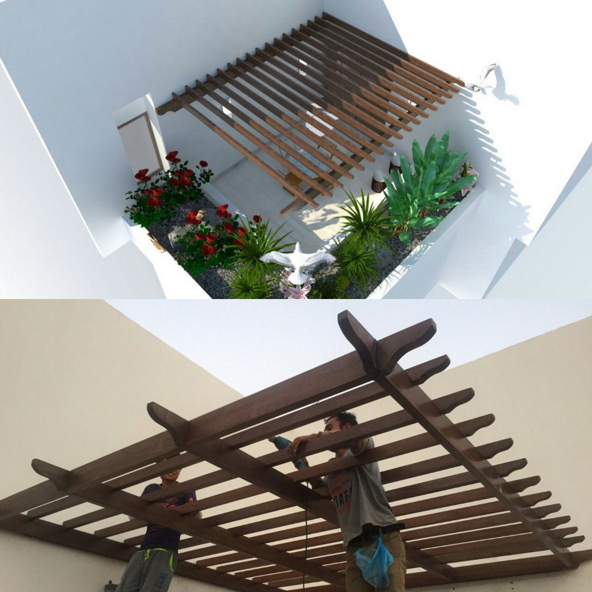 عمل وتركيب مظلات خشبية