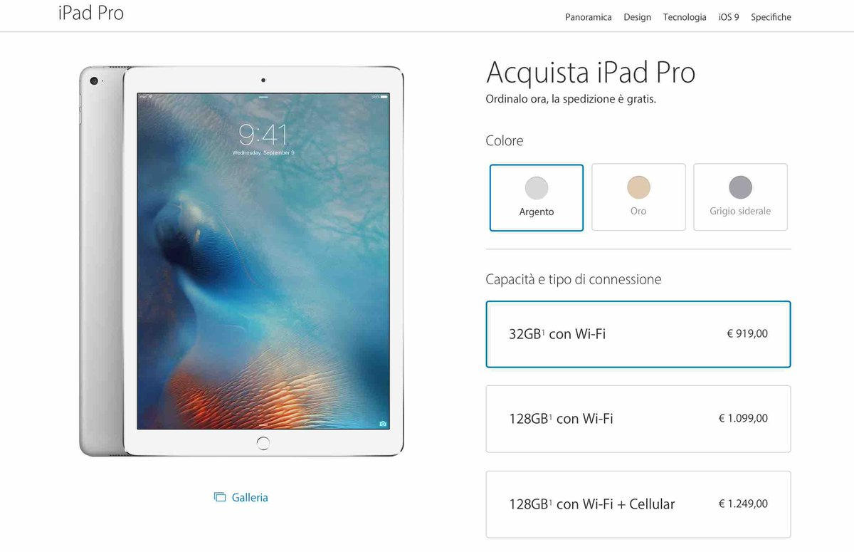 iPad Pro è ORA DISPONIBILE! Si parte da 919€: https://t.co/I37RGnNsqh https://t.co/Ih2AmBIKwl