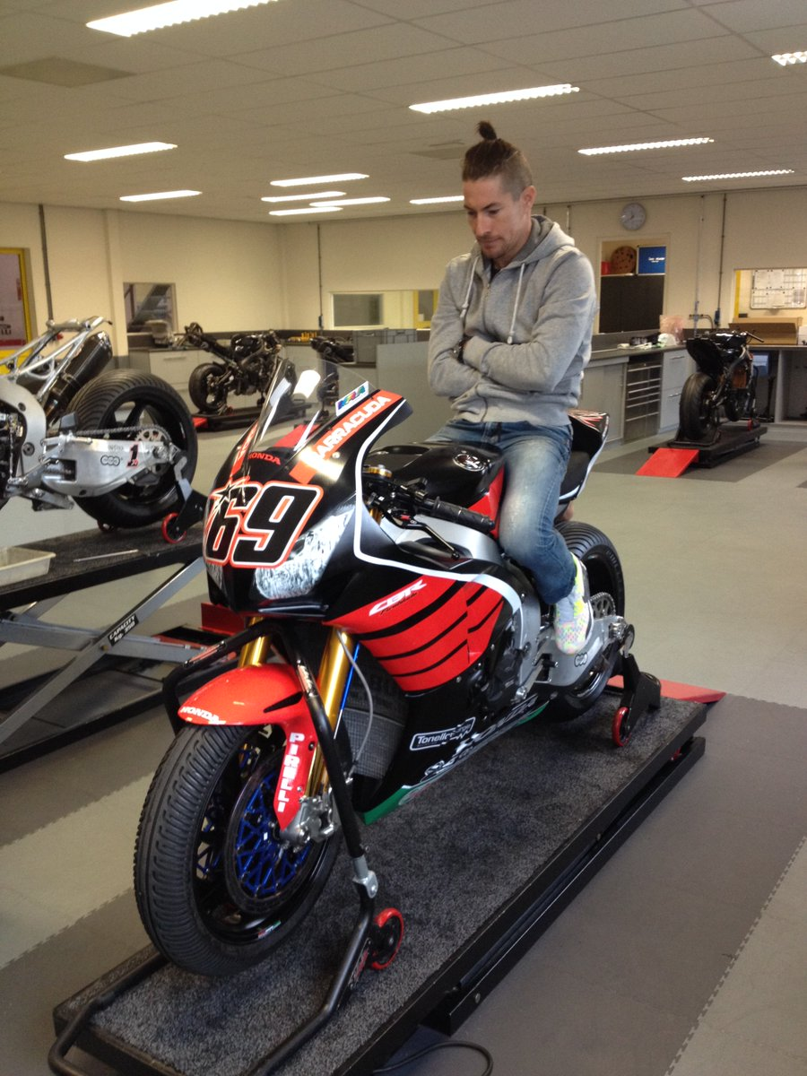 So, this guy @NickyHayden turned up at our place today. Thought we let him try a CBR for size... https://t.co/al9th2PDoe
