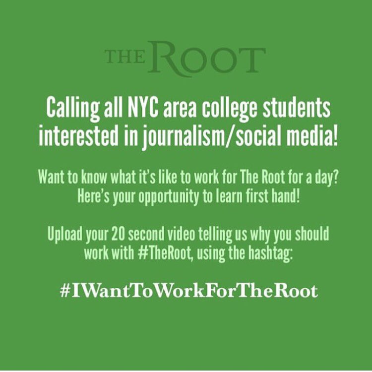 Calling all journalists! If you want to work for The Root, here's your chance! #iwanttoworkfortheroot #weenonline https://t.co/PpMGxvgOdc