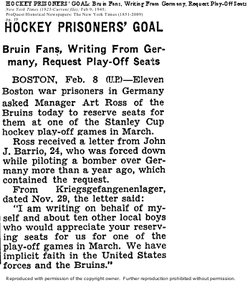 One of my absolute favourite finds: American POWs writing from Germany asking for #Bruins playoff tickets. https://t.co/GOnxU8QsST