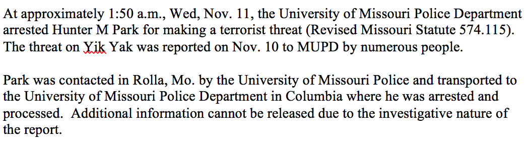 .@MUPDpolice has released a statement about the arrest made concerning threats to the #MIzzou campus. https://t.co/65MUwVA9FS