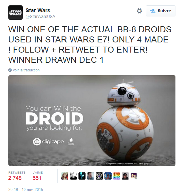Attention, ce concours RT & follow pour gagner un vrai BB-8 de Star Wars 7 est un fake ! Gonflette de followers... https://t.co/CdpapxQc7V