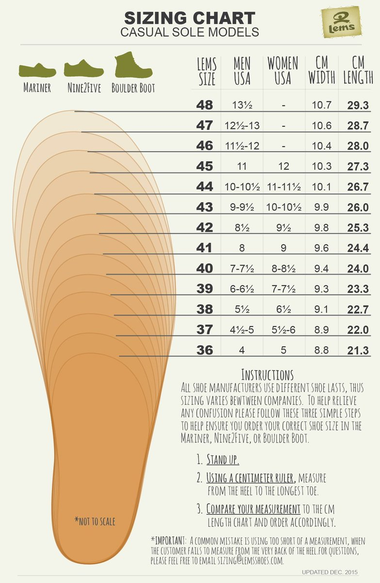 """Lems Shoes on Twitter: """"Need help determining your Lems ..."""