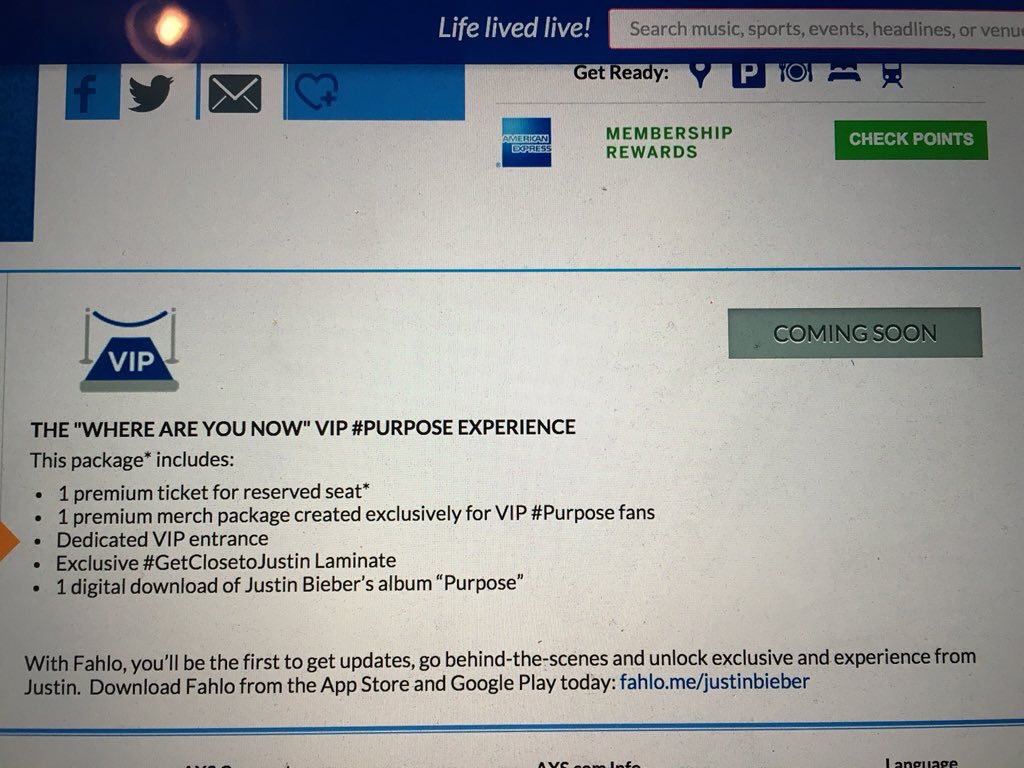 Lina On Twitter Purpose Tour Vip Tickets Info And Price Httpst