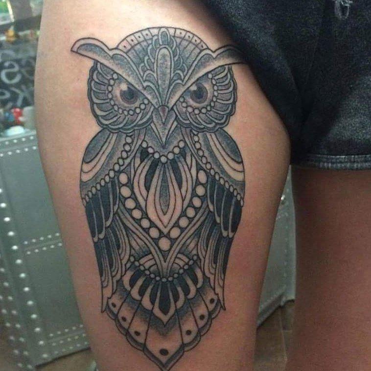"dahlia tattoo shop on twitter: ""another gorgeous owl tattoo"