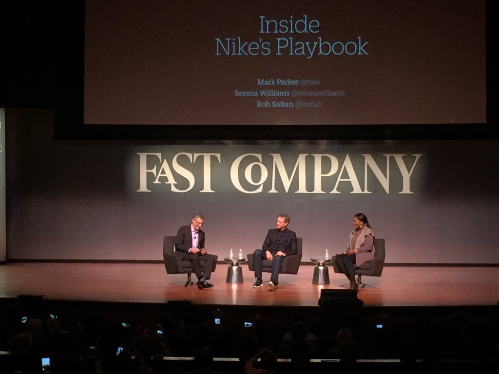 """Pressure is a privilege"" @serenawilliams with Mark Parker at #FCNY https://t.co/c9uFHZtODS"