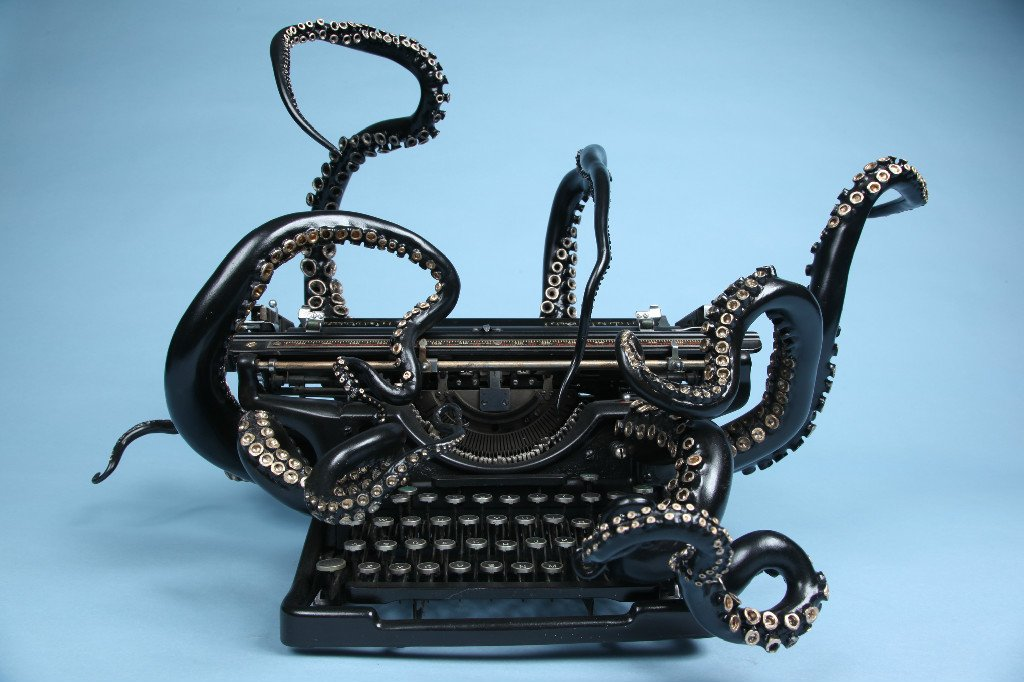 #Steampunk Awesome of the Day: #Octopus #Sculpture Typewriter by Courtney Brown   via @Steampunk_T #SamaCuriosities