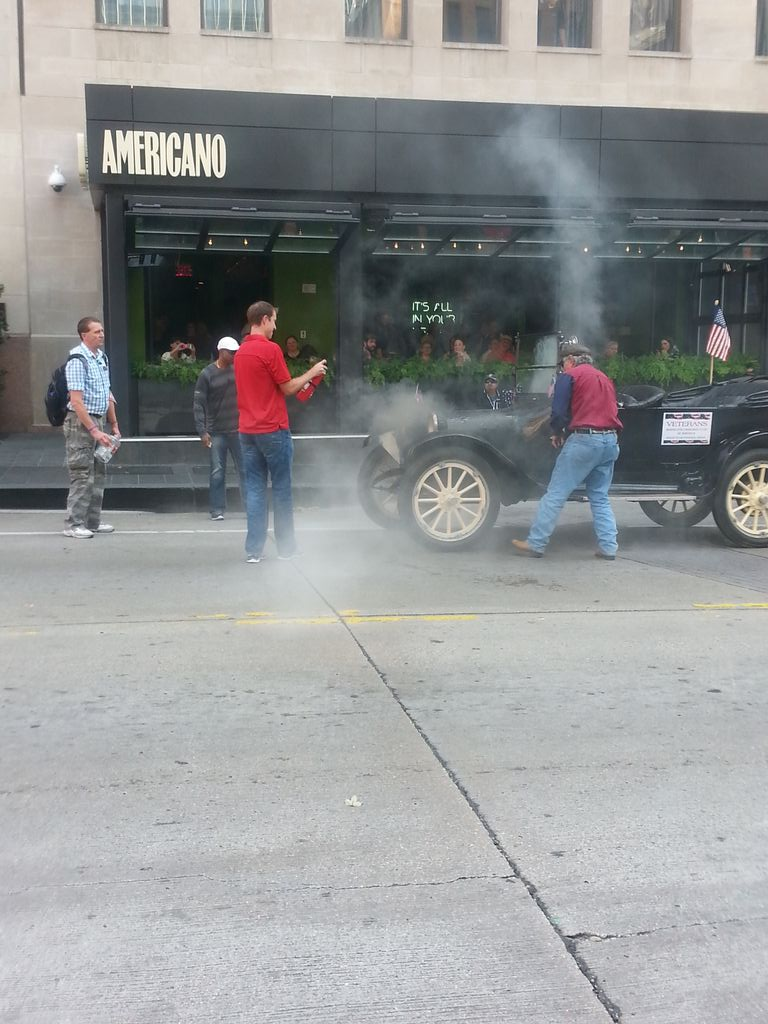 #HappyVeteransDay #dallasparade CoWorker jumped in to put out a fire that erupted on older model car in the parade!