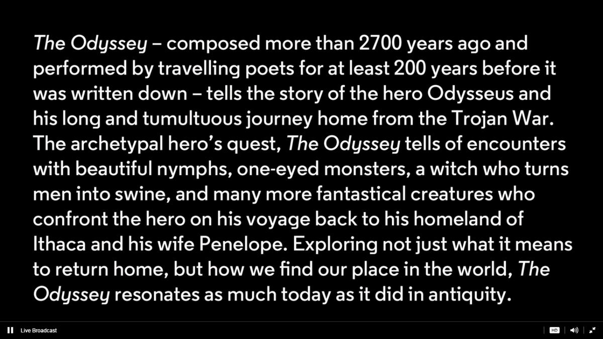 @almeidaodyssey starts in a few minutes @AlmeidaTheatre #Odyssey https://t.co/RYXngCDw00