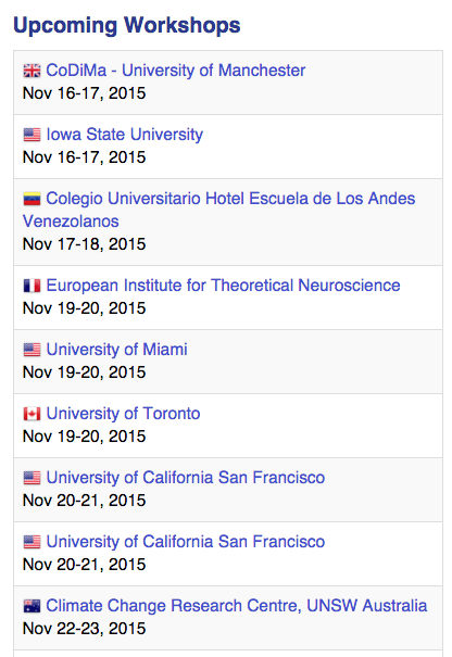 Next week 9 @swcarpentry workshops, including #codima2015, will start in 6 countries https://t.co/nI3SBEqKM2 https://t.co/KGYgMw0gRu