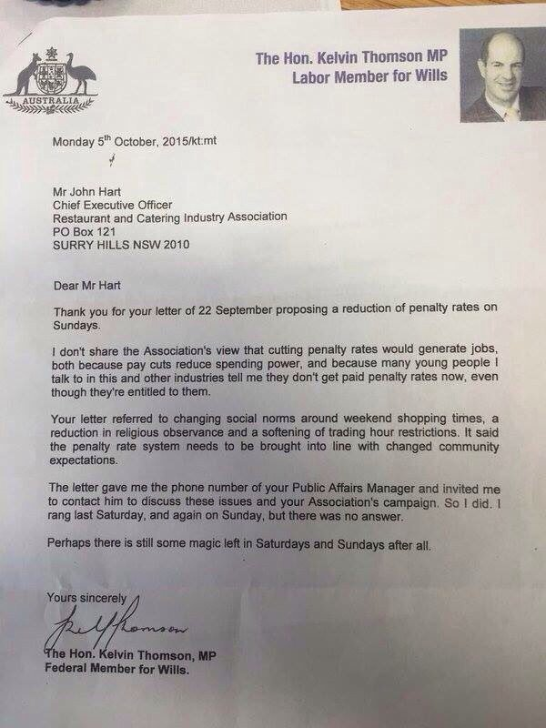 Hard not to enjoy the last line or two of this letter:) @KelvinThomsonMP https://t.co/yzNrJcBdg7