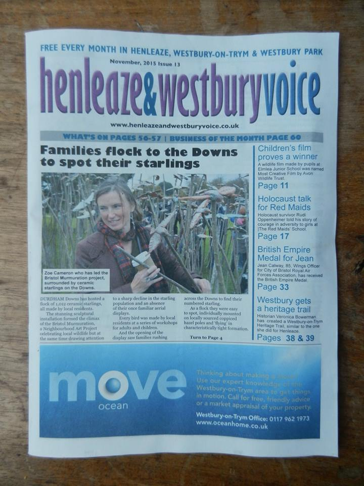 'A Bristol Murmuration' featured in Henleaze & Westbury Voice: https://t.co/JC6xsg2hFp glowing reviews! #NAP2015 https://t.co/7GI2xSa9n1