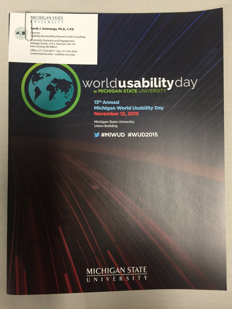 Time flies when you're having fun! Hosting the 13th Annual Wold Usability Day @michiganstateu #MiWUD #wud2015 https://t.co/vlBoTqaMsE