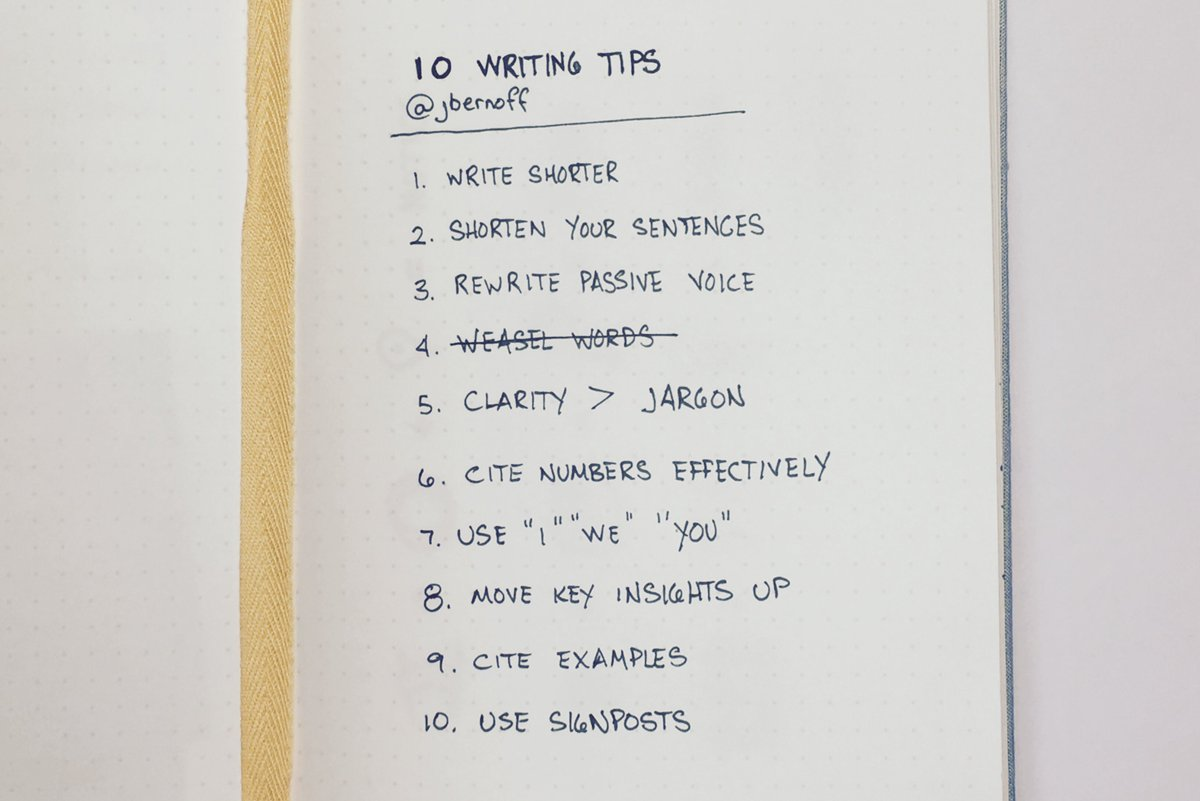 I re-read @jbernoff's 10 writing tips at least once a month. I read them again today. https://t.co/n75hM1JUdr https://t.co/m4yeCqud8f