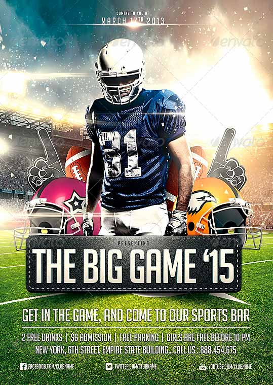 psdsonar on twitter big game football flyer template https t