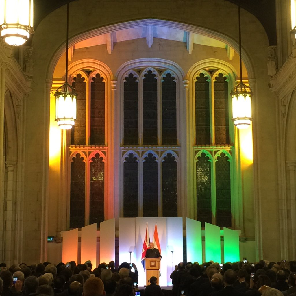 Prime Minister @narendramodi speaks at #Guildhall on UK-Indian ties #ModiInUK https://t.co/UQA3HD3tTR