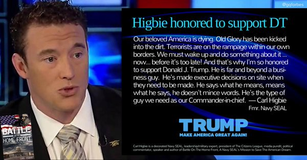 Image result for higbie honored to support DT