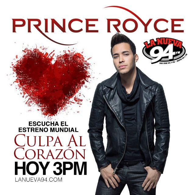 #EstrenoMundial del nuevo sencillo de @princeroyce, #CulpaAlCorazon, hoy a las 3:00pm. ¡No te lo pierdas! https://t.co/9sgDV60LTb
