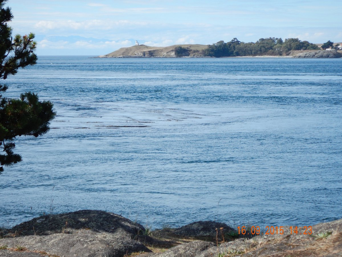 Cattle Point lighthouse & San Juan island view from Shark Reef on Lopez Island