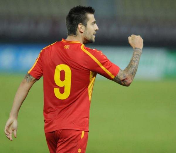 Trajkovski after one of his goals; photo: sportmedia.mk