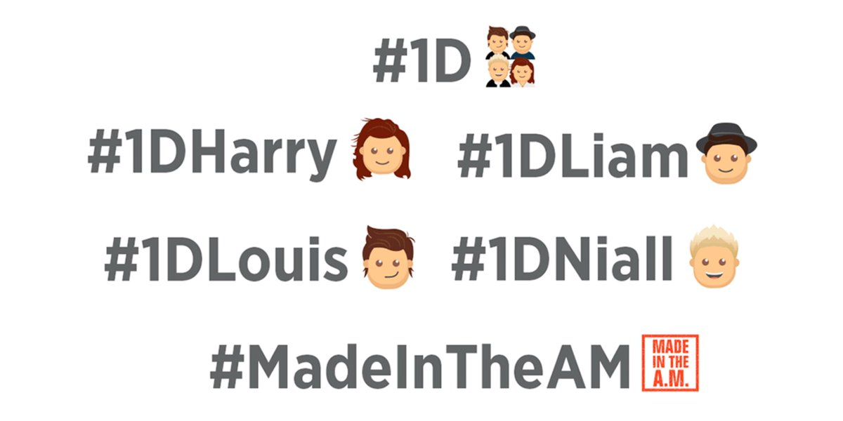 Tweeting #1D, #1DHarry, #1DLiam, #1DLouis, #1DNiall and #MadeInTheAM reveals awesome @twitter hashtag emojis!
