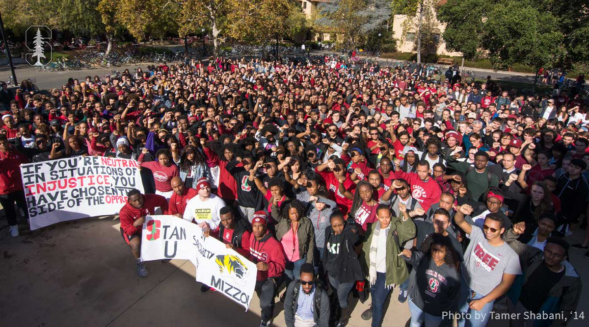 At noon today, Stanford students rallied #InSolidarityWithMizzou. https://t.co/pi3WFmfFhg