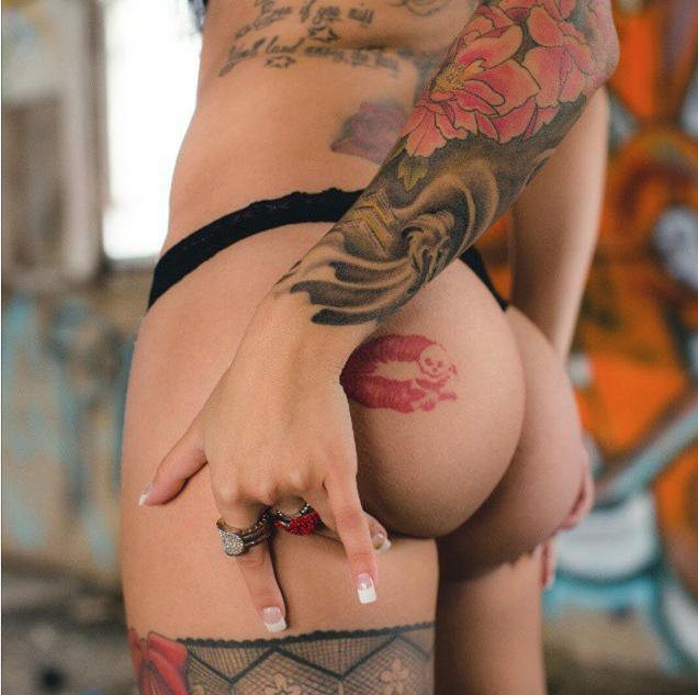 Sexy butt tattoos, granny ball biting