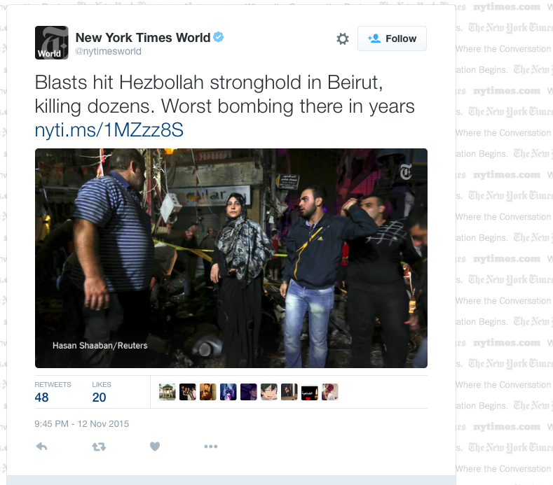 The @nytimes headline that keeps changing...Are readers finally having an impact on the media? #Beirut #neighborhood https://t.co/E4qFfs6XF8
