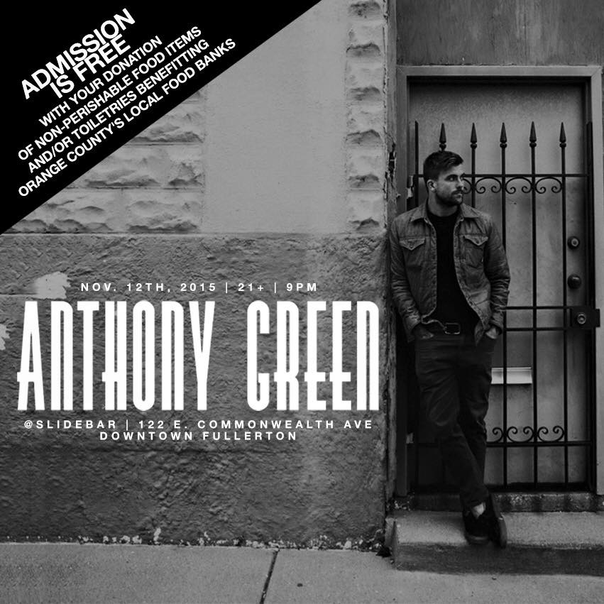 Tonight! @AnthonyGreen performs a FREE SHOW! We ask that you please bring canned food to donate in order to get in. https://t.co/r7IsNjktzx